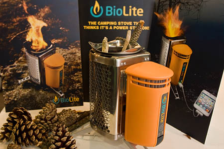 the bio lite camp stove on display at the outdoor trade show