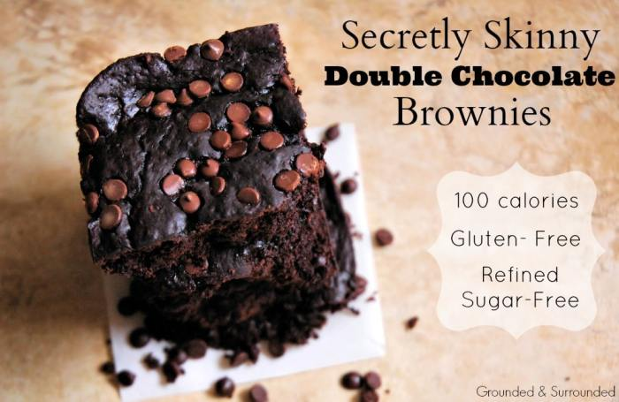 Secretly Skinny Double Chocolate Brownies | This easy gluten free and refined sugar free brownie is every bit as indulgent and healthy as they sound! At less than 100 calories per homemade brownie, you will not feel guilty indulging in these! They are definitely the real deal with their fudgey texture and from scratch ingredients. Dare I say the best low calorie brownies EVER!