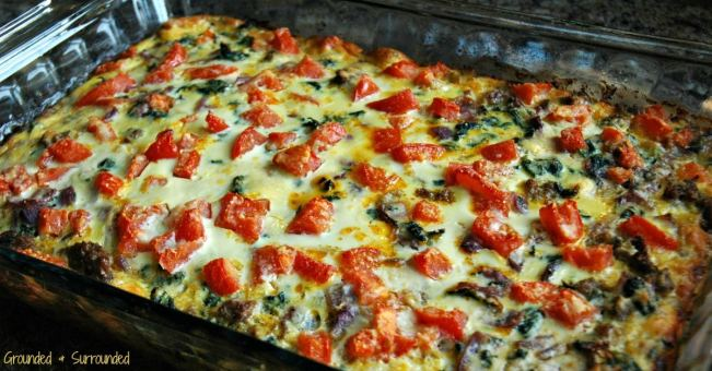 Healthy and clean eating breakfast dishes ROCK! Not only is this dish filling, but it is gluten-free and SO flavorful! Don't let the simple ingredients fool you, it is delicious. You can prepare this easy casserole the night before and let it hang out in the fridge until morning or bake it right away. Cut it into 6 huge portions to eat for breakfast all week or 9-12 slices to feed a crowd at brunch. https://www.groundedandsurrounded.com/recipe/clean-eating-turkey-sausage-egg-bake/