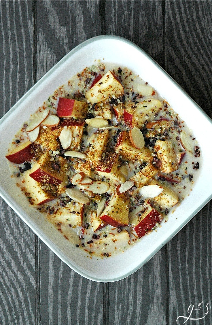 This clean-eating little gem is perfect for breakfast, dessert, or a snack. You literally feel like you are eating cereal with the crunchy apples and seeds but it is completely healthy and flavorful! Use whatever nuts, seeds, or milk that you have on hand but be sure to measure so you don't over-indulge in the seeds or nuts. Grain-Free, Sugar-Free, & Paleo friendly. Find more recipes like this at https://www.groundedandsurrounded.com/recipe/apple-cereal/