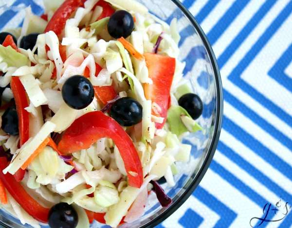This healthy and easy RED, WHITE & BLUE Slaw Salad is the perfect addition to any summer BBQ! July 4th and Memorial Day are the perfect holidays for this festive and crowd-pleasing salad. This patriotic homemade salad is packed with whole foods such as crunchy cabbage, sweet blueberries, delicious red bell pepper, and tart apple. Bring the BEST clean eating and gluten-free coleslaw recipe to your next potluck!