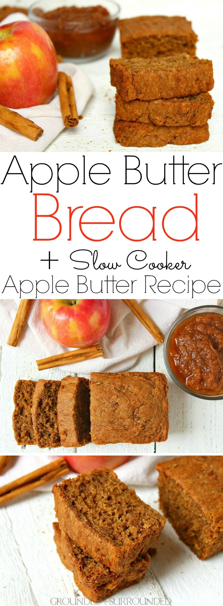 The BEST Apple Butter Bread + Slow Cooker Apple Butter Recipe | This gluten-free sweet bread is our favorite fall breakfast recipe! If you are looking for an easy sweet bread recipe to make the most of autumn flavors make this healthy crock pot apple butter AND then bake this bread! Baking when the weather turns crisp is my favorite activity. This batter makes a wonderful muffin to pack in school lunches and to freeze for those busy mornings too! #glutenfree #cleaneating #fall