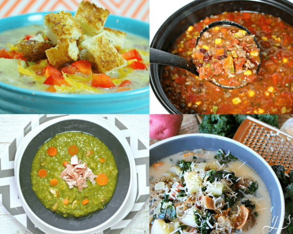The 10+ BEST Clean Eating Soup, Chili & Stew Recipes   These healthy and quick one-pot meals are perfect for lunch or dinner! Hearty taco {crockpot}, easy minestrone, and low carb cheeseburger soups will tantalize your tastebuds. Whether you want chicken, beef, or ground turkey these are for you or maybe you want to keep it vegetarian (vegan) with lentils and vegetables. Most are gluten free, dairy free, Paleo, and 21 Day Fix and Weight Watchers diet friendly.