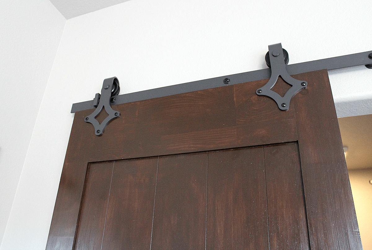 hardware for barn door on dark walnut door & DIY Barn Doors Two Ways | Grounded \u0026 Surrounded
