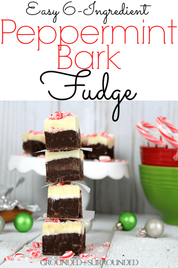 The BEST Peppermint Bark Fudge | This easy homemade recipe is Christmas in a pan. There are only 6 simple pantry ingredients (condensed milk, white chocolate chips, dark chocolate chips, salt, candy canes, extract) to whip up and you have the perfect gift idea for friends, neighbors, and your kids teacher. Sweets recipes are a holiday staple in our home and candy recipes are always a fun favorite! Christmas treats for the win! #holidays #Christmas #Christmasgifts #desserts #holidayrecipes