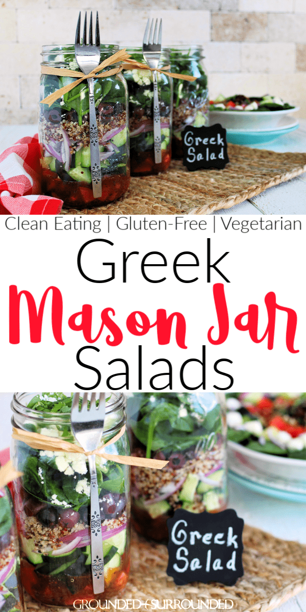 Greek Mason Jar Salad | Prep once and eat a healthy lunch for a week! Mason Jar recipes are super easy and this vegetarian variety is no exception. This low carb layers of deliciousness is a classic take on Greek Salad with quinoa to bump up the satisfaction. Need more clean eating meal prep ideas? Check out G&S! Add chicken or hard boiled eggs if you aren\'t vegan. If you don\'t know how to make healthy lunches, you will after this recipe tutorial!  #lunch #salad #cleaneating #glutenfree