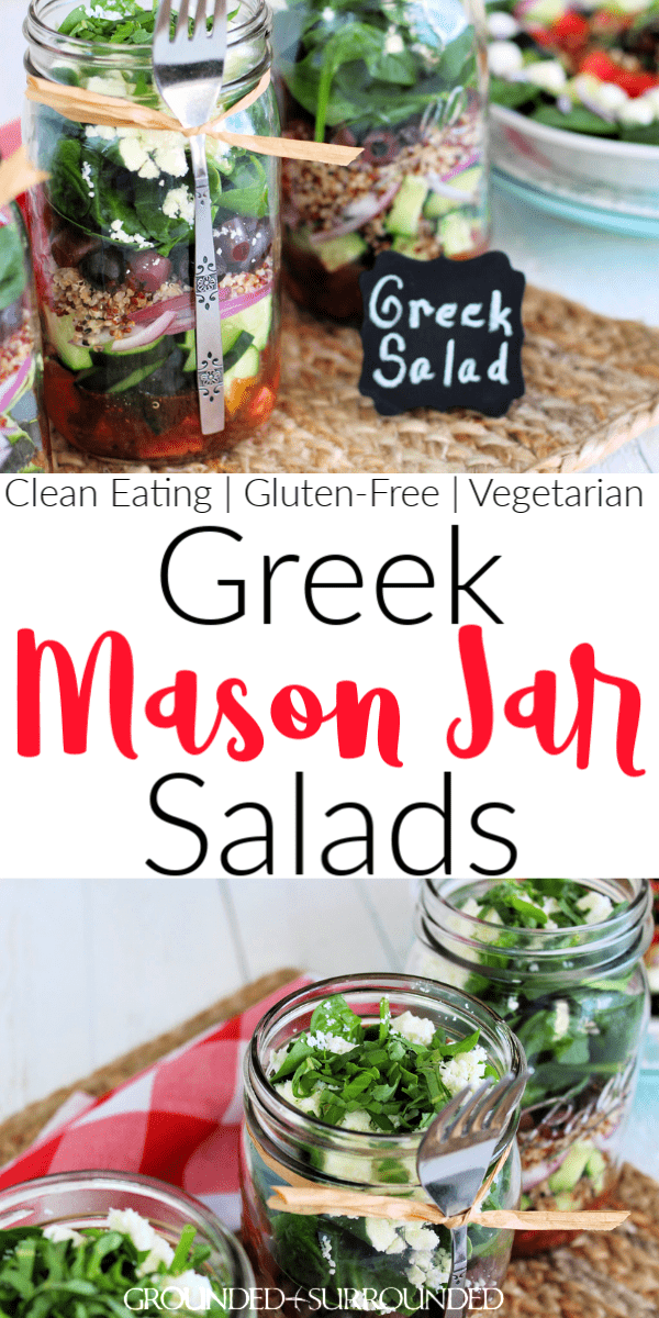 Greek Mason Jar Salad | Prep once and eat a healthy lunch for a week! Mason Jar recipes are super easy and this vegetarian variety is no exception. This low carb layers of deliciousness is a classic take on Greek Salad with quinoa to bump up the satisfaction. Need more clean eating meal prep ideas? Check out G&S! Add chicken or hard boiled eggs if you aren't vegan. If you don't know how to make healthy lunches, you will after this recipe tutorial! #lunch #salad #cleaneating #glutenfree
