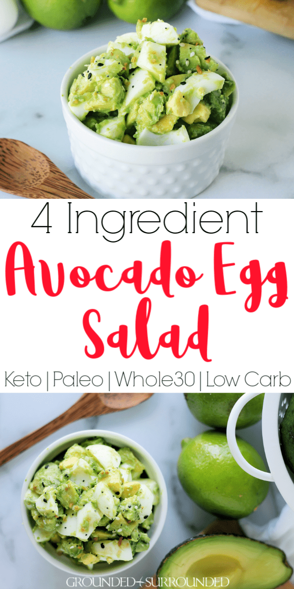 The BEST 4 Ingredient Avocado Egg Salad | This healthy and clean eating recipe has no mayo (mayonnaise), sour cream, or Greek yogurt. It is super easy to make and is keto, Whole30 and paleo friendly! Use this salad to make a sandwich, wrap, or eat it plain. Low carb, dairy free, and gluten free lunch recipes can be delicious! Make ahead for work and have meal prep done for 2 days. #keto #lunch #dairyfree #glutenfree #cleaneating