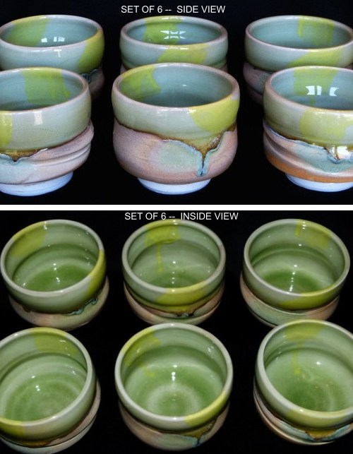 Green Glazed Tea Bowl Set of 6
