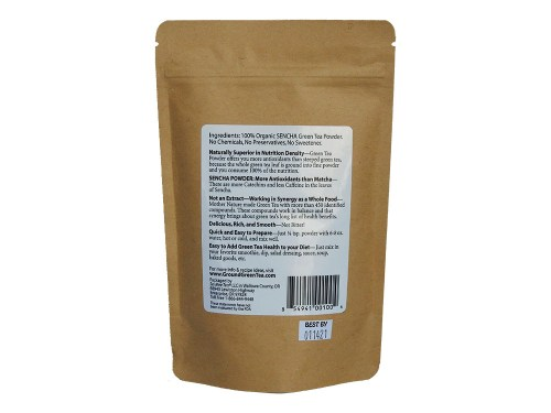 Edible Green Sencha back of product