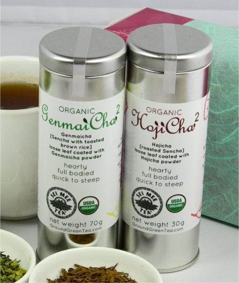 genmaicha leaf with powder and hojicha leaf with powder set