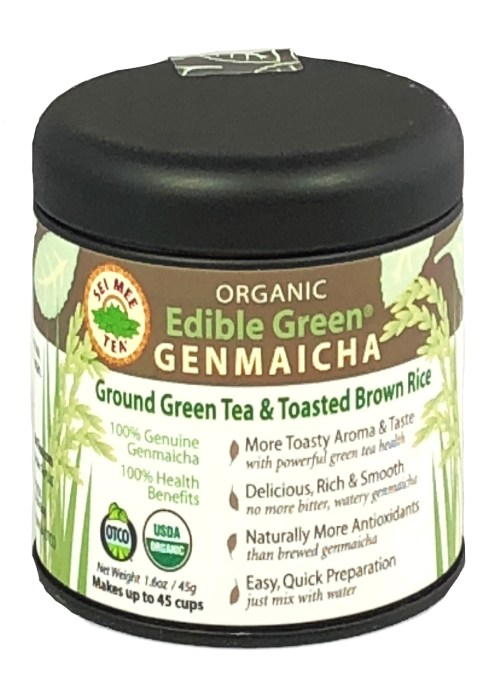 Edible Green Tea Genmaicha Powder, Organic - 45 cup Gift Tin
