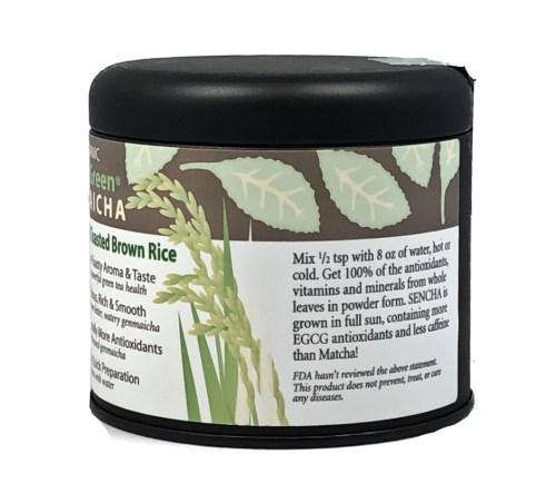 organic genmaicha powder gift tin side