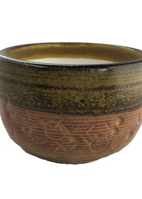 Handcrafted Tea Bowl - Orange + Green Rim
