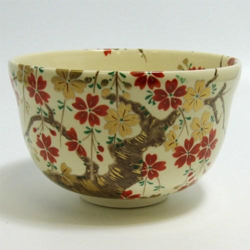 matcha tea bowl cherry blossoms