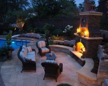Mediterranean Pool & Fireplace Ground