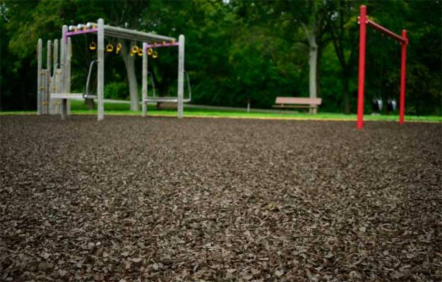 Brown Rubber Mulch playground close up