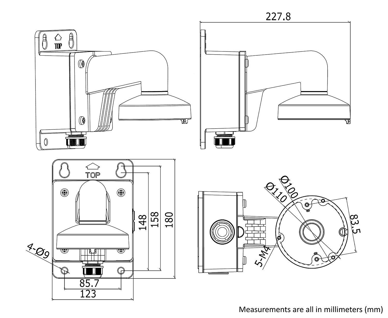 WMS WML PC110B DS-1272ZJ-110B Wall Mount Bracket for