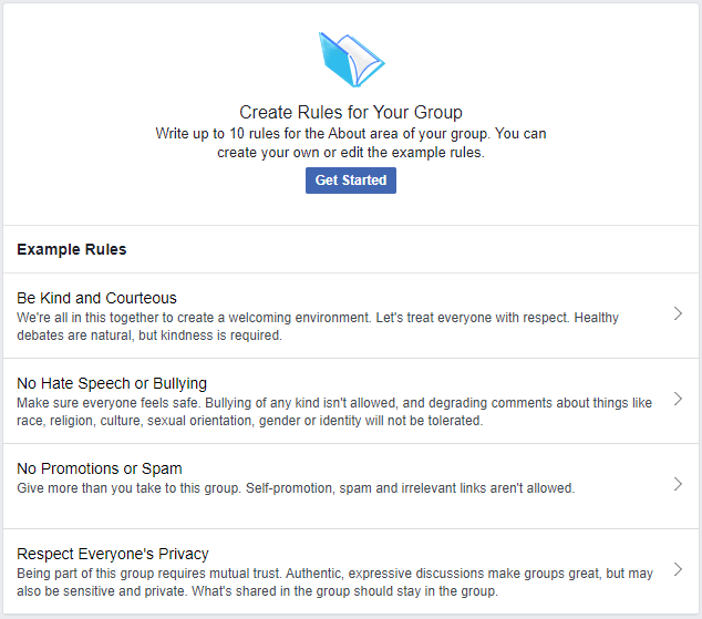 Facebook provides example group rules