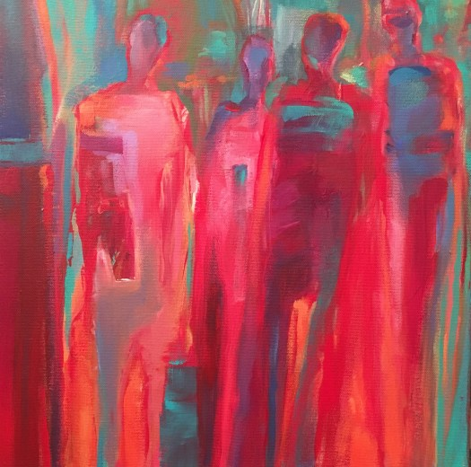 "Anne Peterson, Visitors, 18"" x 28"", Acrylic on canvas"