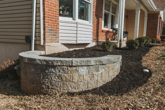 Versa Lok Landscape Retaining Wall After Mulch