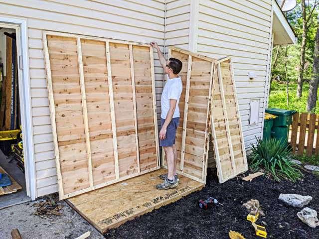 Setting up three walls of mini shed