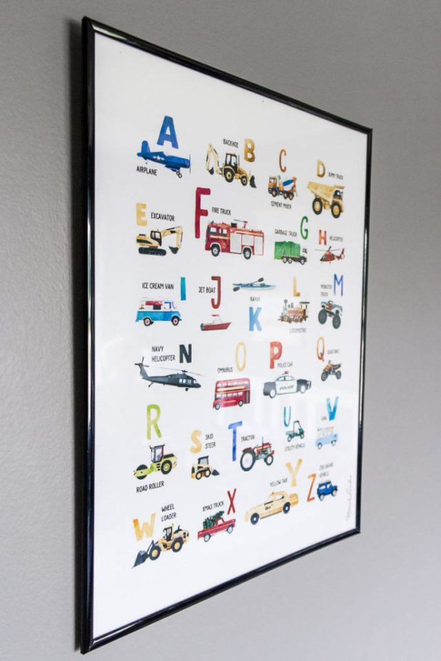 Transportation themed alphabet wall art print