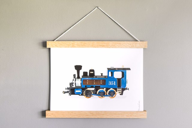 Blue train print from MORILAND and hanger frame