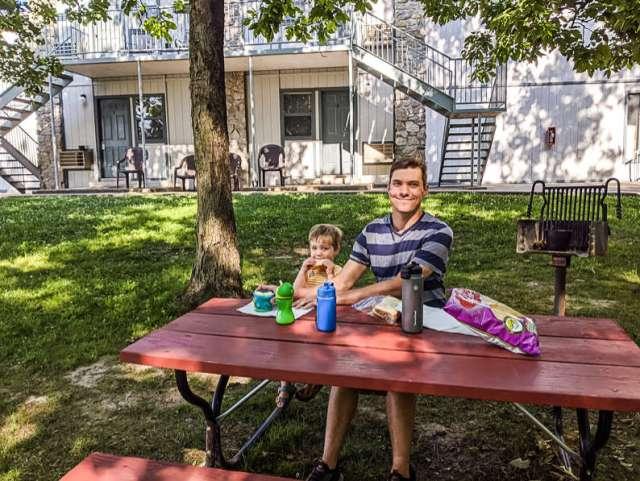Eating dinner outside at picnic table