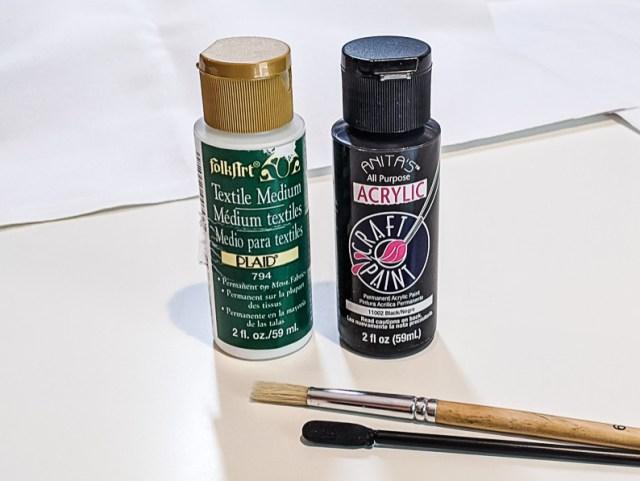 FolkArt Textile Medium Fabric Paint and Black Acrylic Paint