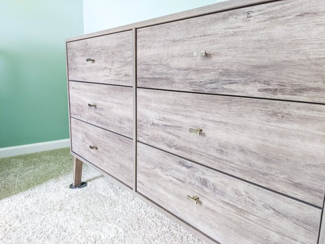 Nurser mid century modern dresser with old brass hardware