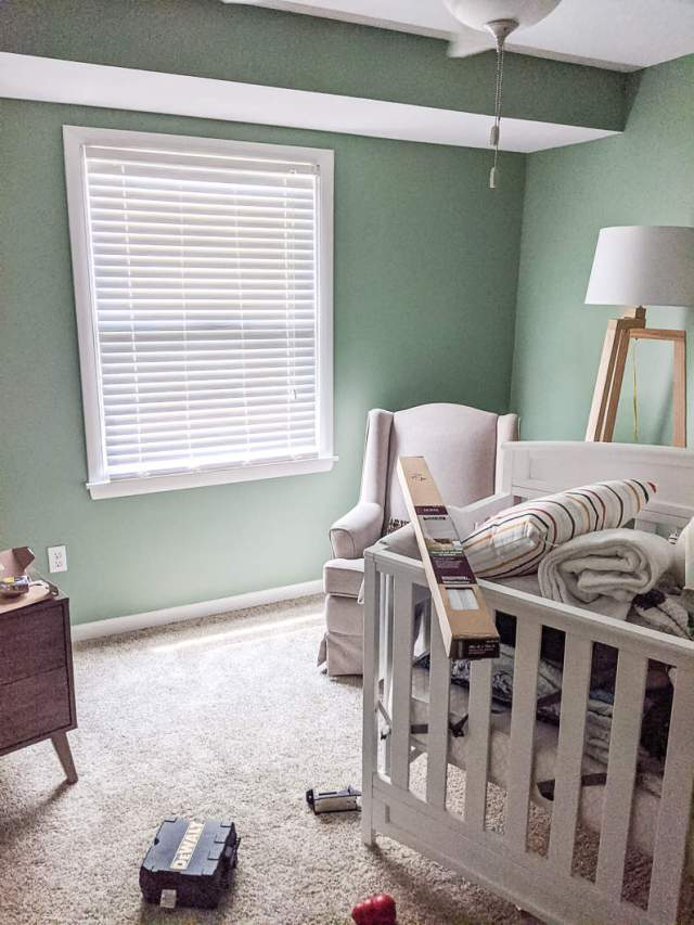 Nursery faux wood blinds with cords