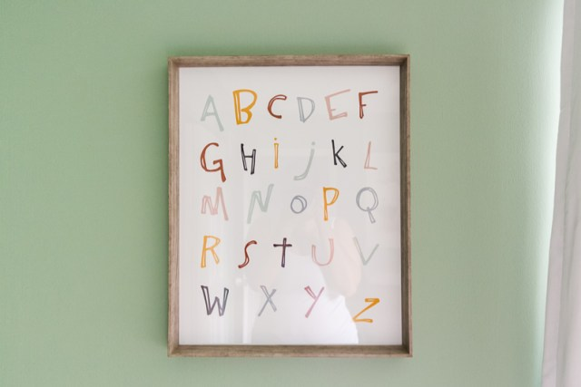 Colorful alphabet wall art print DIY
