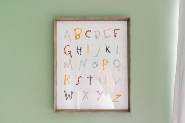 Colorful alphabet wall art print DIY