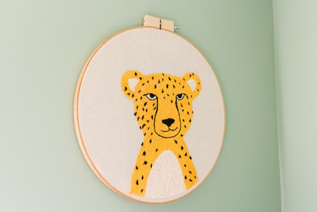 DIY embroidered cheetah wall art hoop