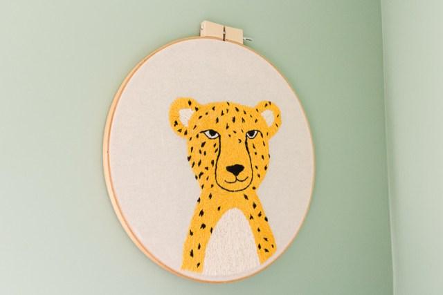 DIY embroidered cheetah wall art hoop