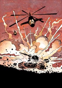 A chopper blows up a tank in Joe Haldeman's The Forever War