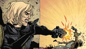 Judge Anderson shooting a perp in Dredd/Anderson