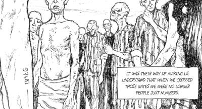 Prisoners in a Nazi concentration camp
