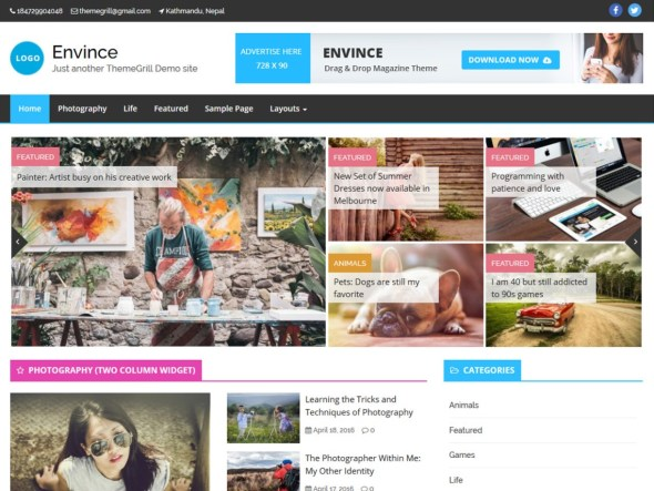 Free Arabic WordPress Themes Evince