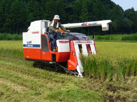 Mini harvesters are also used in high-income countries, as in this photo from Japan
