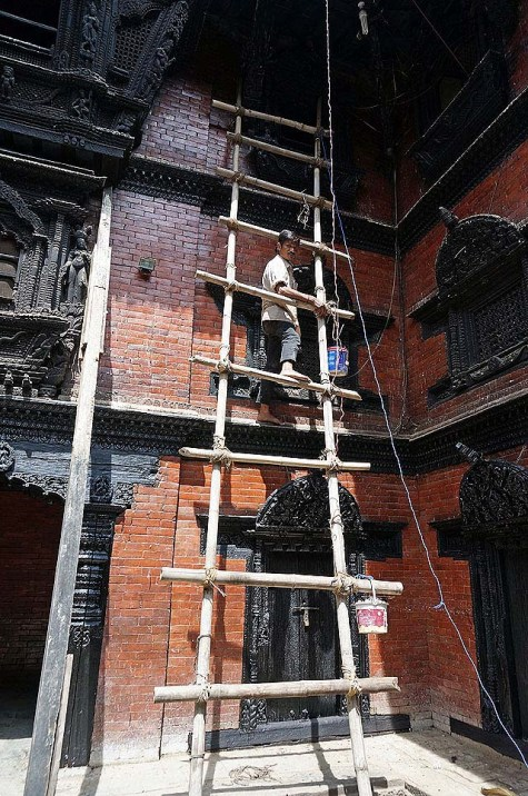 Durbar square - bamboo ladder