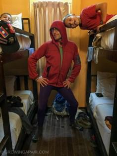 Modelling his comedy leggings