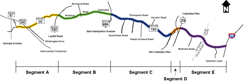 Map of the roadway segments along the MD 28/198 corridor. Segment A: MD 28 (Norbeck Road) from MD 97 (Georgia Avenue) to MD 182 (Layhill Road). Segment B: CO7445 (Norbeck Road) from MD 182 (Layhill Road) to MD 650 (New Hampshire Avenue). Segment C: MD 198 (Spencerville Road) from MD 650 (New Hampshire Avenue) to CO4552 (Old Columbia Pike). Segment D: MD 198 (Spencerville Road) from Old Columbia Pike (Southern Spur) to US 29 (Columbia Pike). Segment E: MD 198 (Sandy Spring Road) from US 29 (Columbia Pike) to I-95.