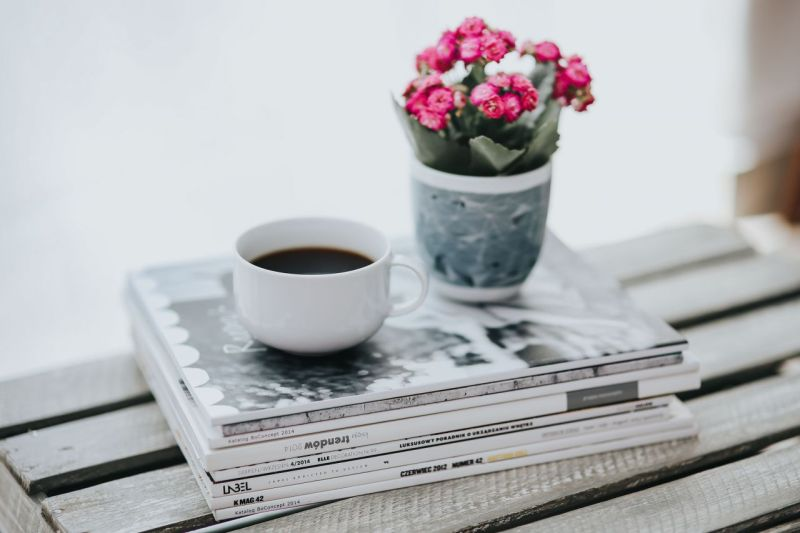 kaboompics_Little pink flowers with a coffee and a stack of magazines