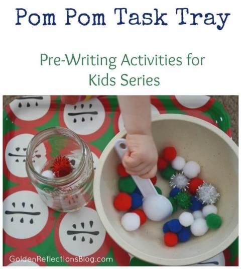 Pom Pom Task Tray - Pre-writing Activities for Kids Series   www.GoldenReflectionsBlog.com