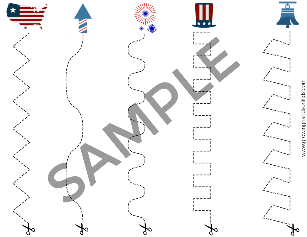 4th Of July Cutting Practice Pages For Preschoolers
