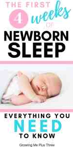Pinterst pin with newborn baby sleeping and text 'the first 4 weeks of newborn sleep, everything you need to know'