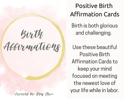 image of positive birth affirmation cards available in site's shop