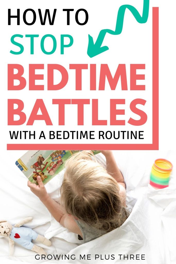 Pinterest image of child reading a book in bed with text 'how to stop bedtime battles with a bedtime routine'